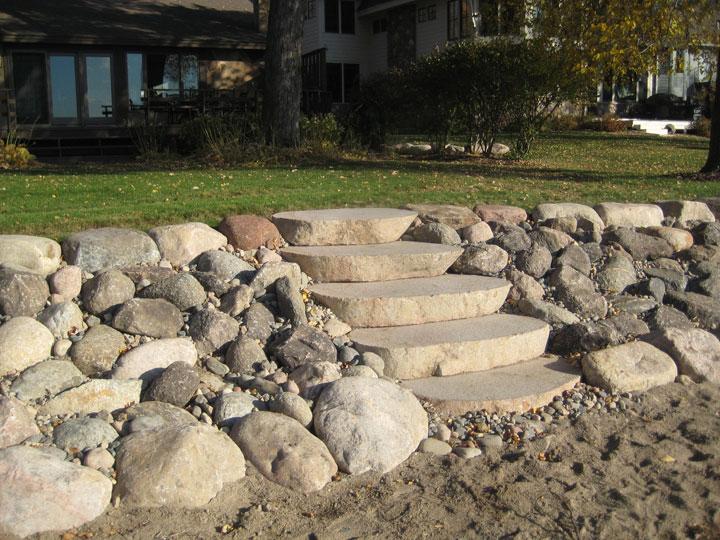 Installing Natural Steps to a raised Shoreline along Lake Simcoe