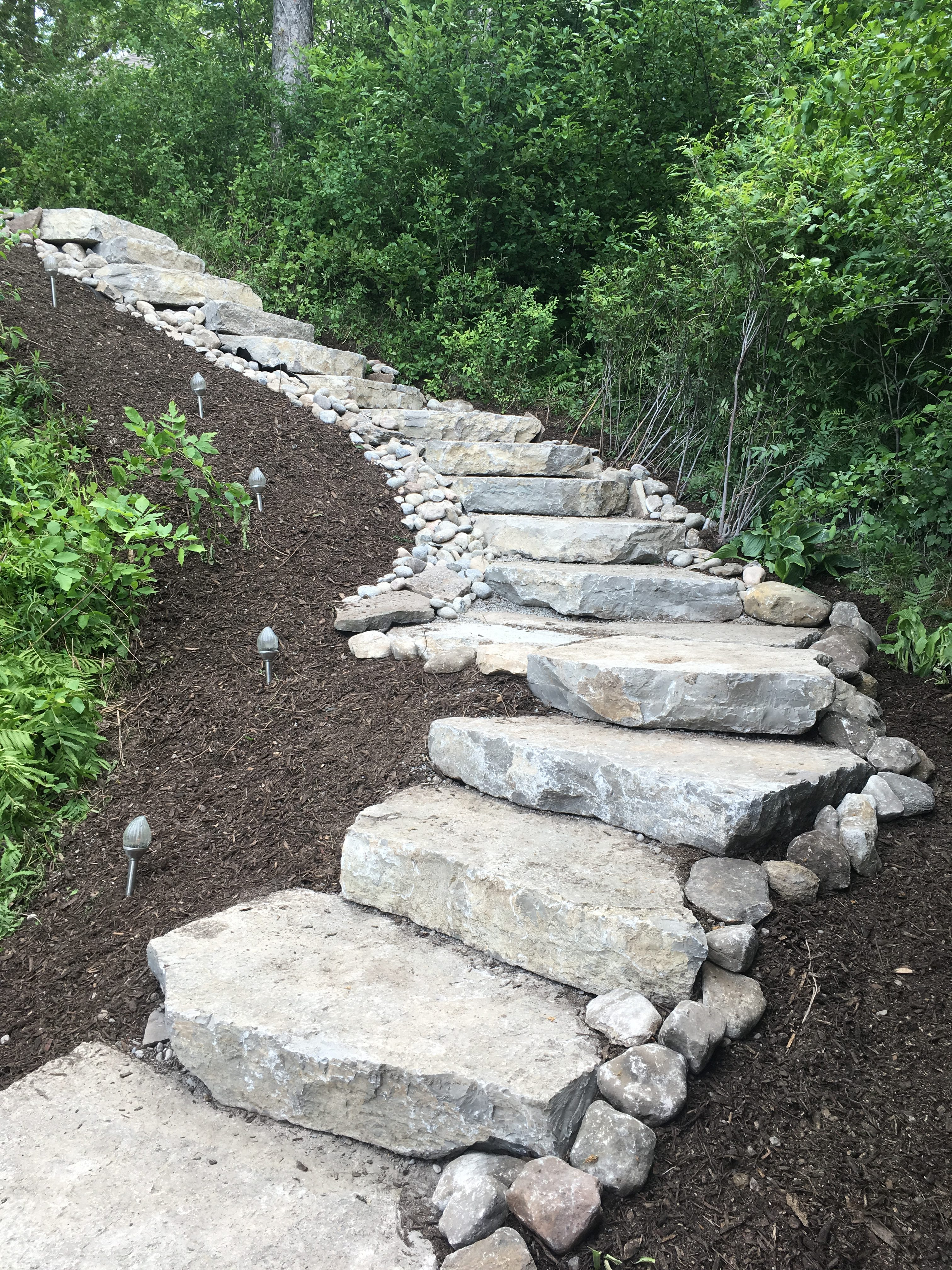 Natural Flagstone Staircase installed for a beautiful lakefront access.